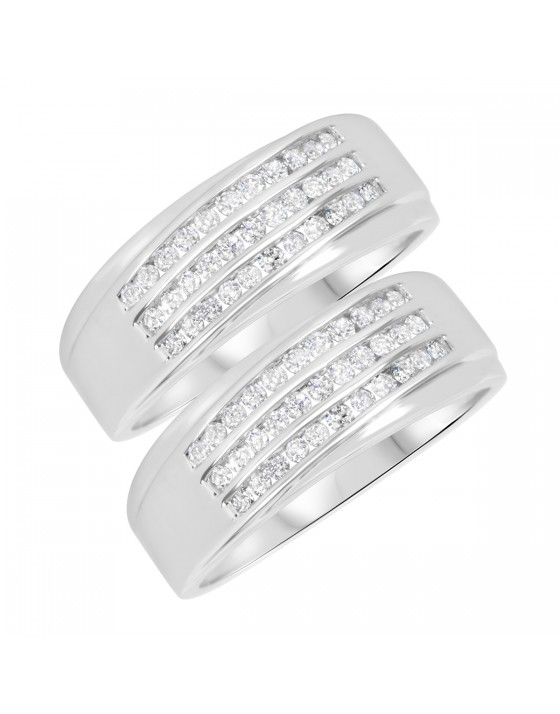 7/8 Carat T.W. Round Cut Mens Same Sex Wedding Band Set 10K White Gold