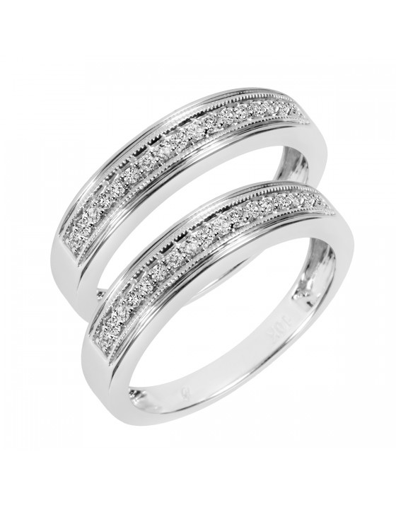 1/3 Carat T.W. Round Cut Mens  Same Sex Wedding Band Set 10K White Gold
