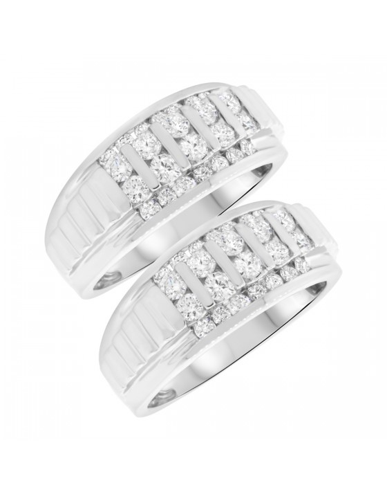 2 Carat T.W. Diamond Matching Wedding Band Set 14K White Gold