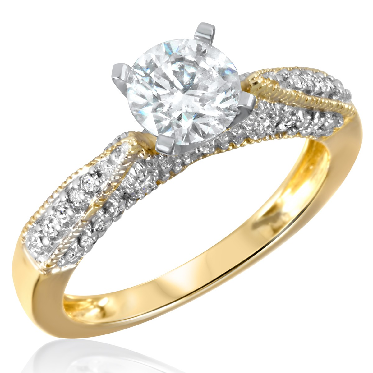 1 1/3 CT. T.W. Diamond Ladies Engagement Ring 14K Yellow Gold