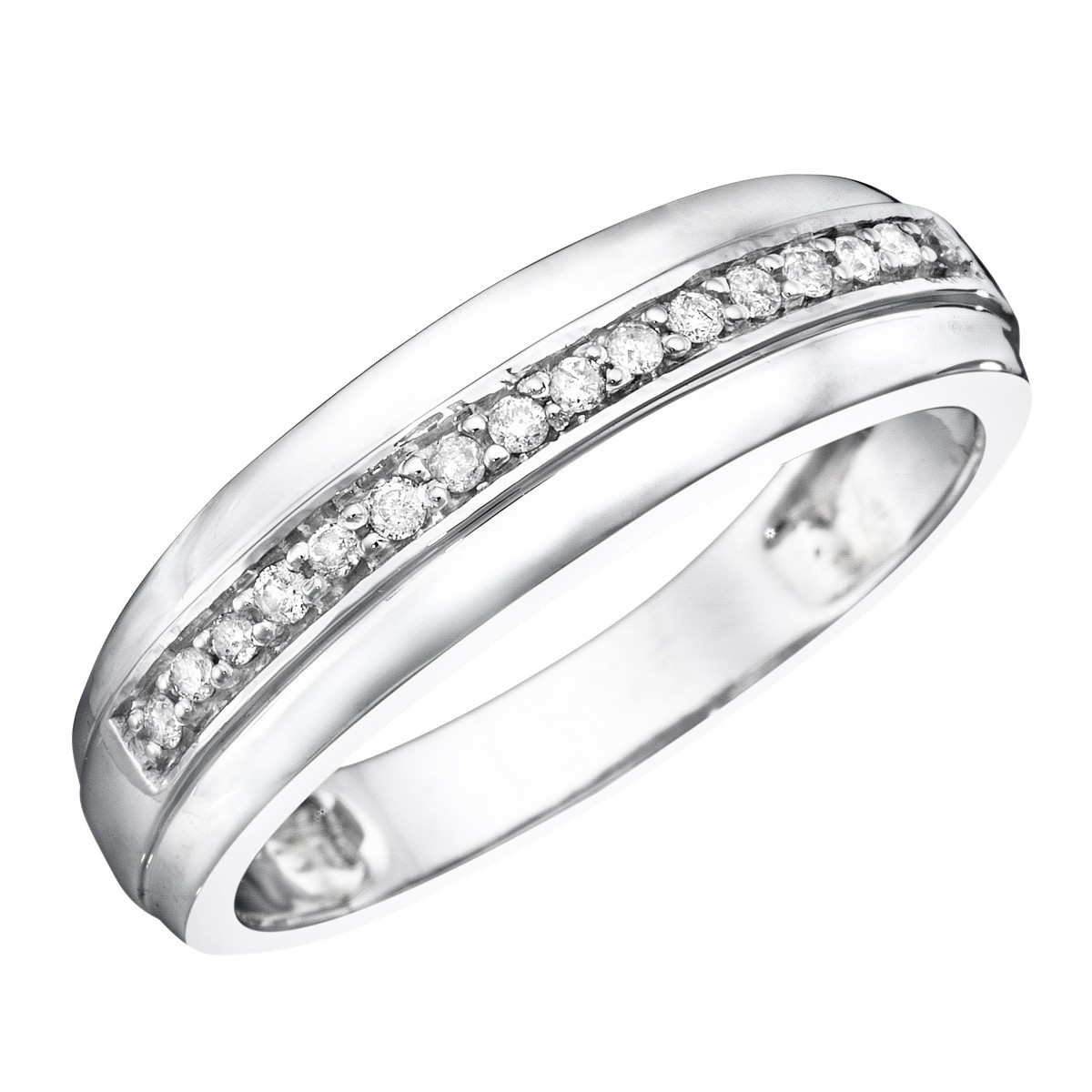 1/5 CT. T.W. Diamond Men's Wedding Band 10K White Gold