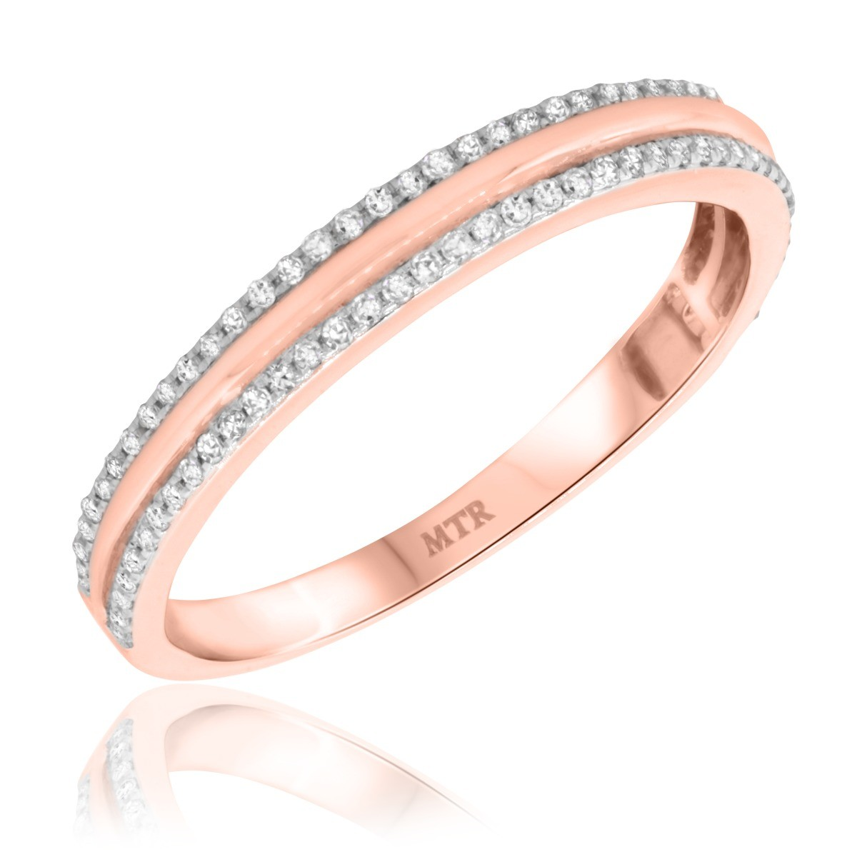 1/3 Carat T.W. Diamond Mens Wedding Band  14K Rose Gold