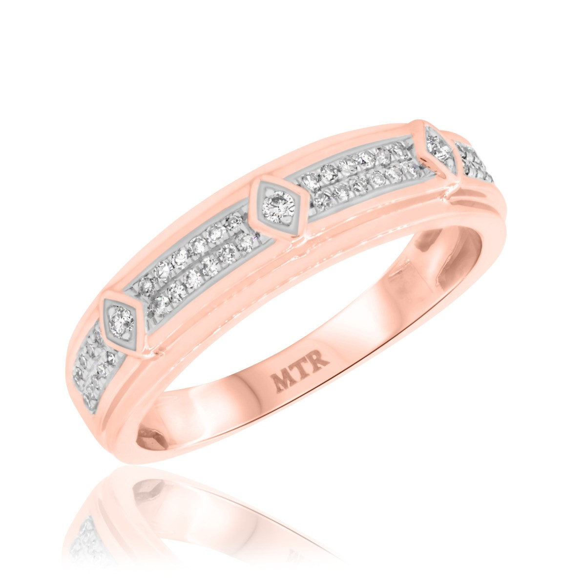 1/4 CT. T.W. Diamond Mens Wedding Band 14K Rose Gold