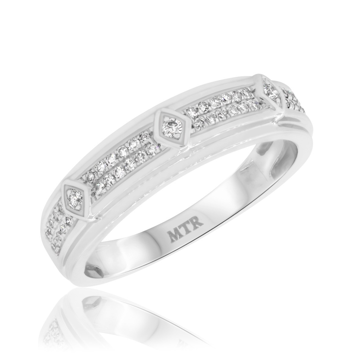 1/4 CT. T.W. Diamond Mens Wedding Band  14K White Gold