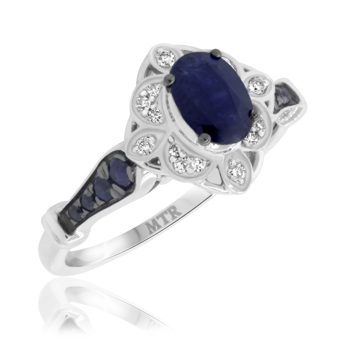 1 Carat T.W. Sapphire and Diamond Engagement Ring 14K White Gold