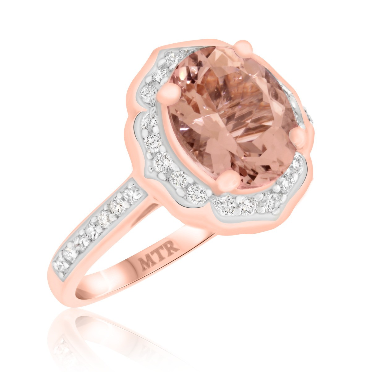 2 1/3 CT. T.W. Morganite and Diamond Engagement Ring 14K Rose Gold