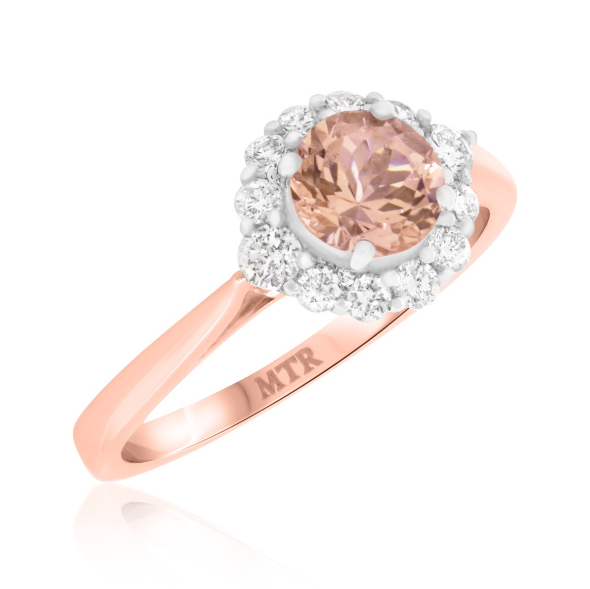 1 Carat T.W. Morganite and Diamond Engagement Ring 14K Rose Gold
