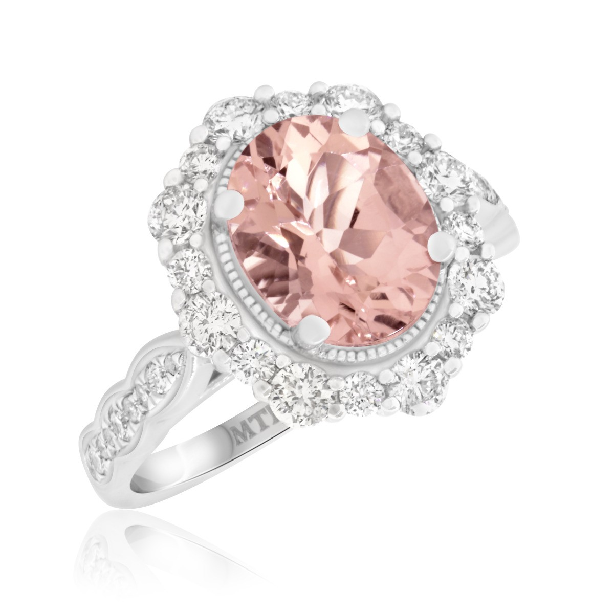 3 CT. T.W. Morganite and Diamond Engagement Ring 14K White Gold
