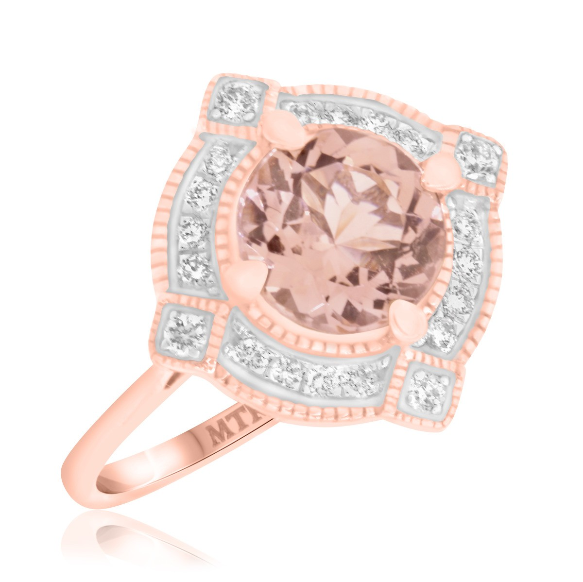 1 3/4 Carat T.W. Morganite and Diamond Engagement Ring 14K Rose Gold