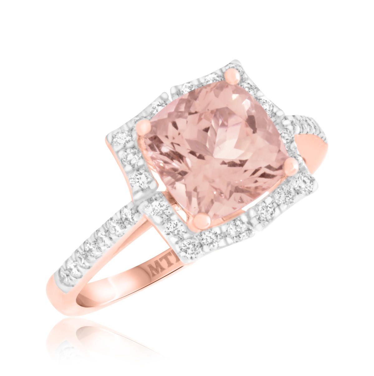 2 1/6 CT. T.W. Morganite and Diamond Engagement Ring 14K Rose Gold