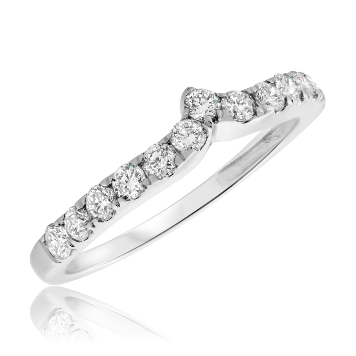 5/8 CT. T.W. Diamond Ladies Wedding Band  14K White Gold