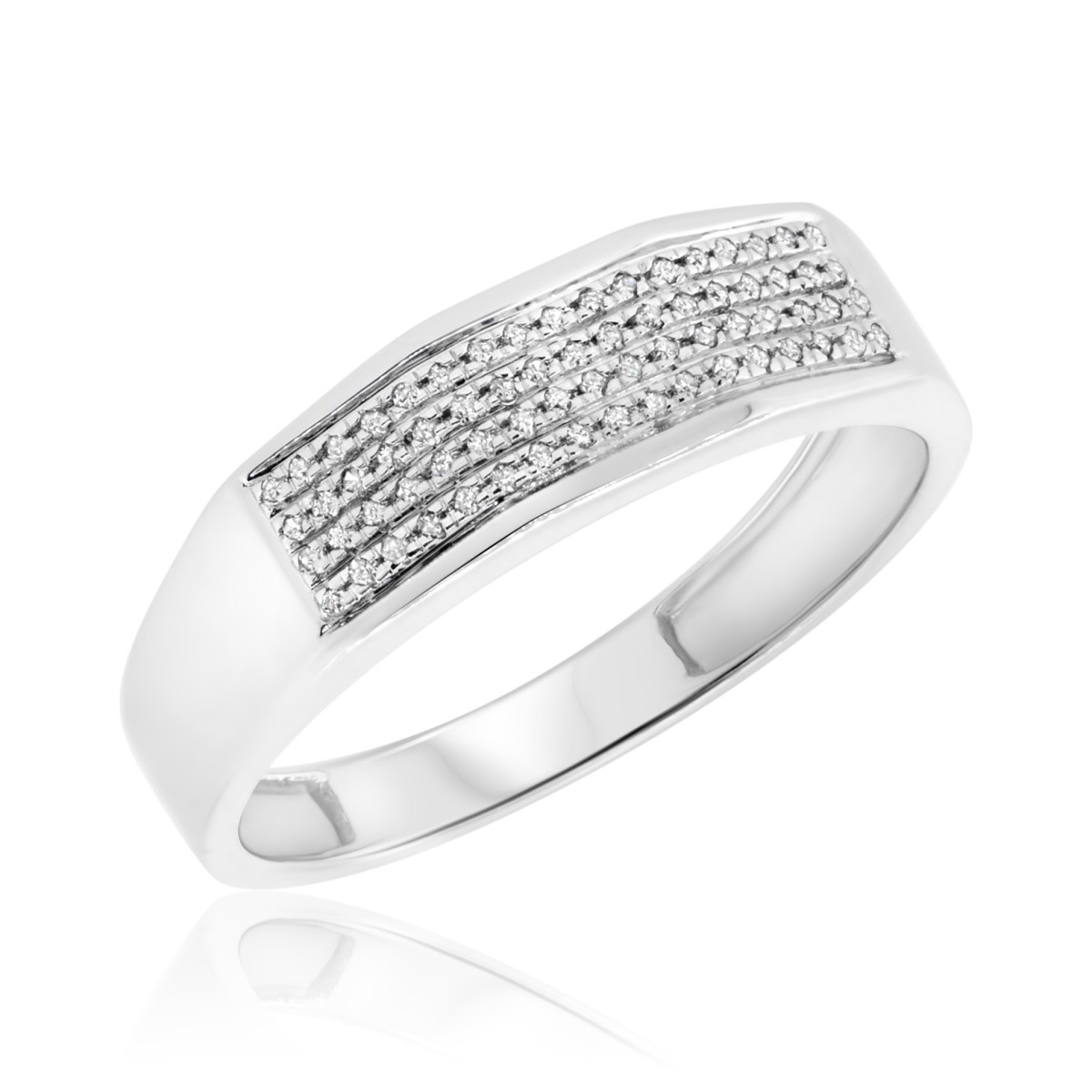 1/7 CT. T.W. Diamond Mens Wedding Band  10K White Gold