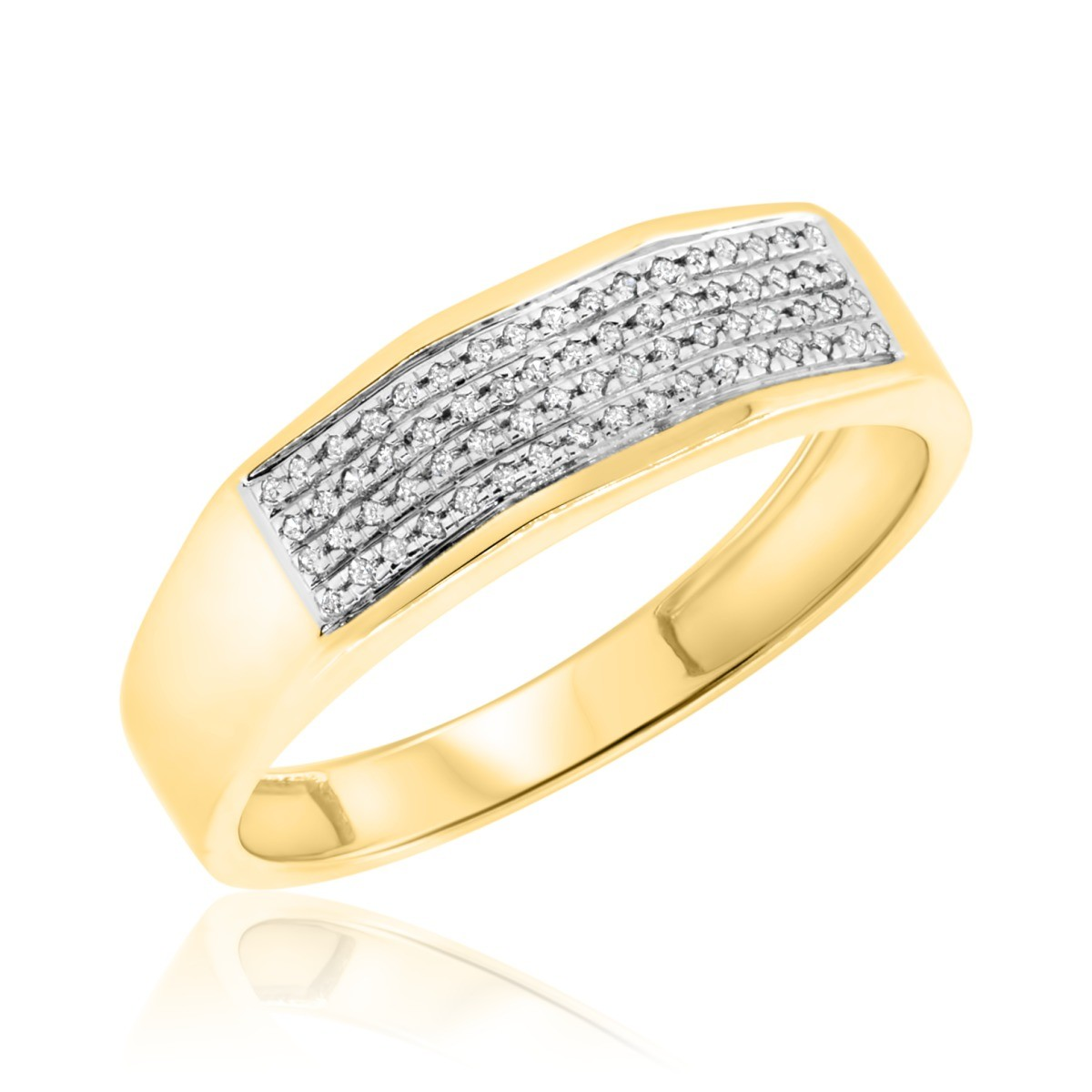 1/7 CT. T.W. Diamond Mens Wedding Band 10K Yellow Gold