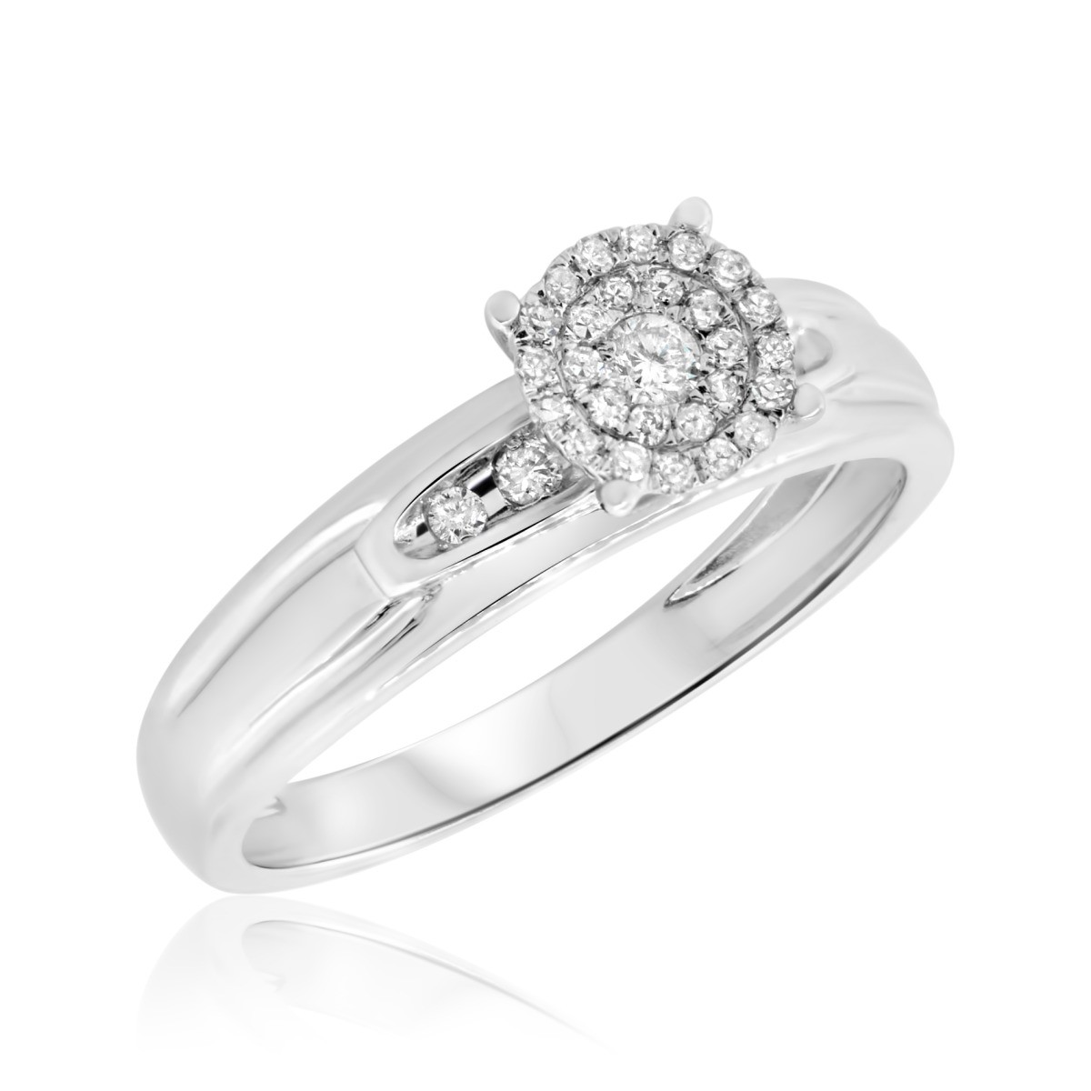 1/5 CT. T.W. Diamond Engagement Ring 14K White Gold