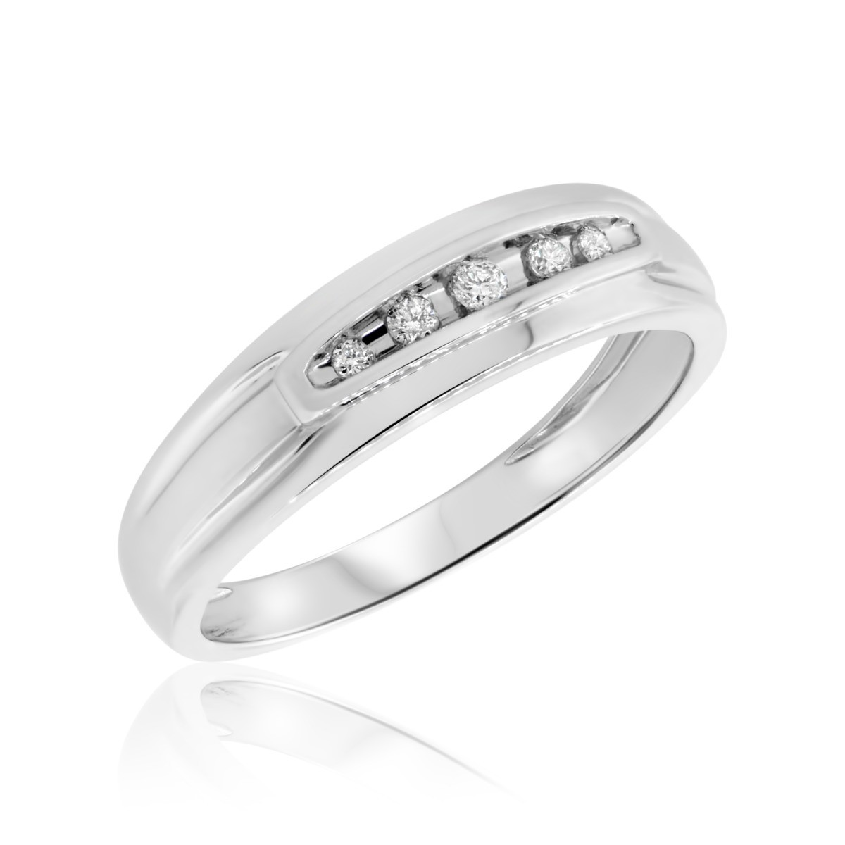 1/8 Carat T.W. Diamond Mens Wedding Band  14K White Gold