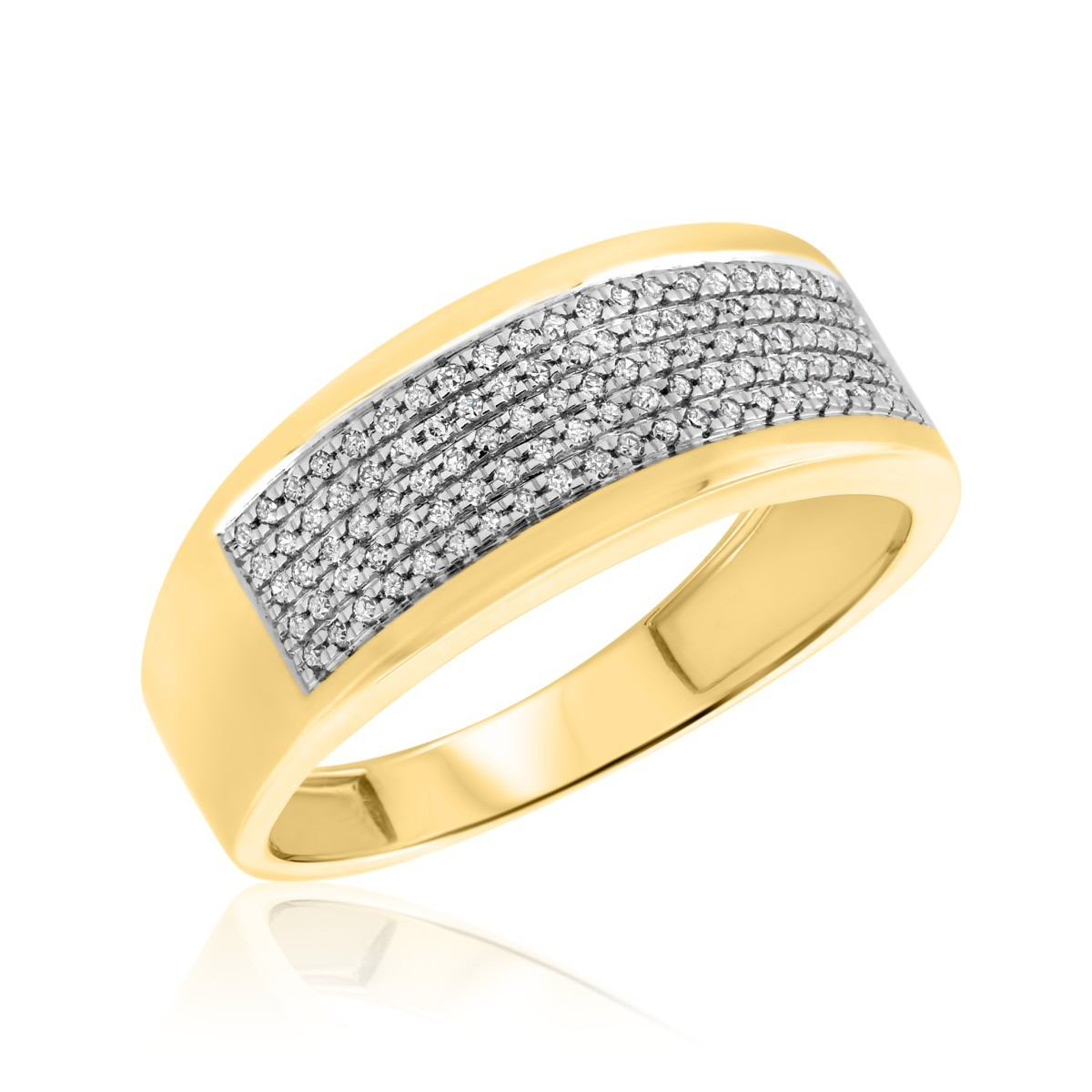 1/4 Carat T.W. Diamond Mens Wedding Band 10K Yellow Gold