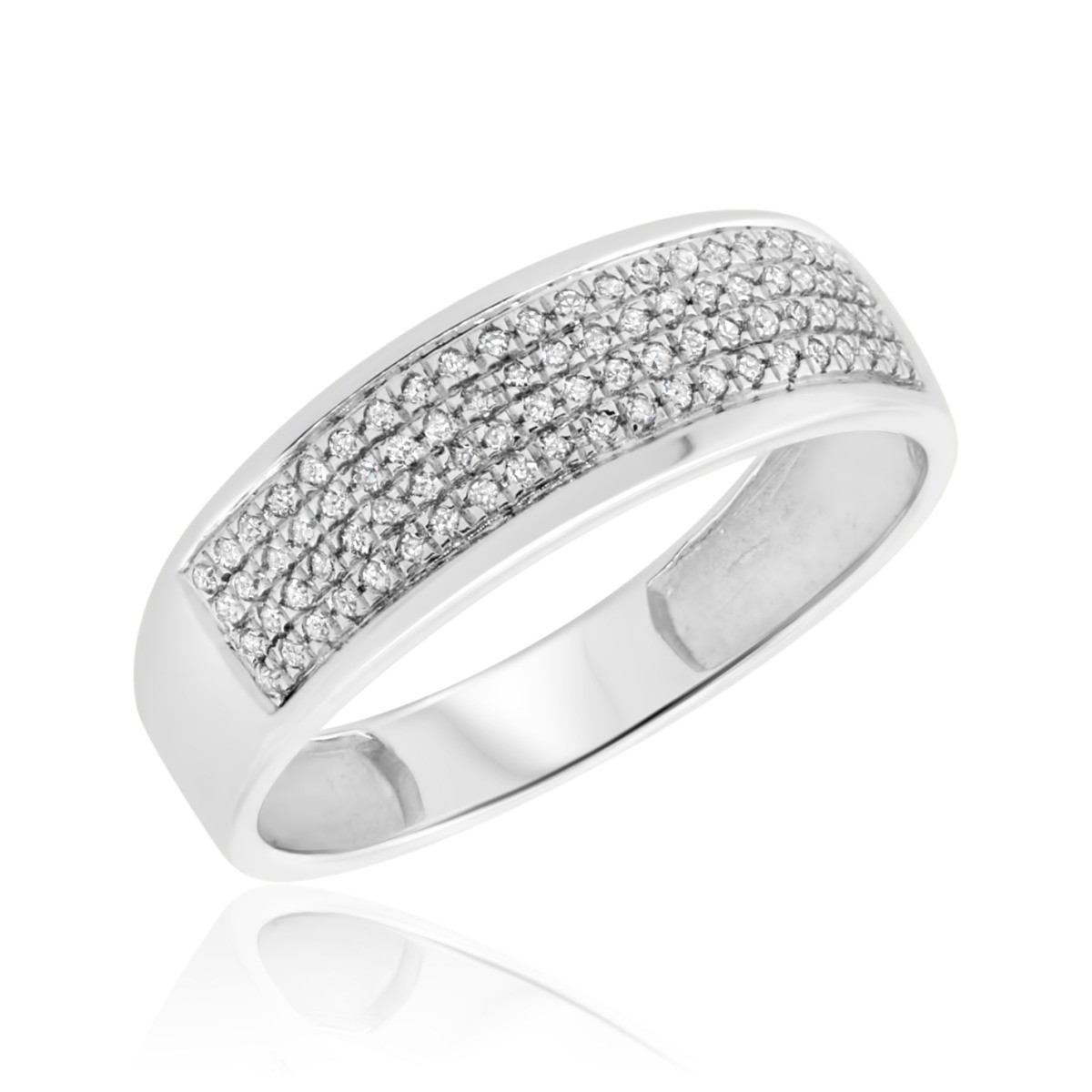 1/5 Carat T.W. Diamond Ladies Wedding Band  10K White Gold