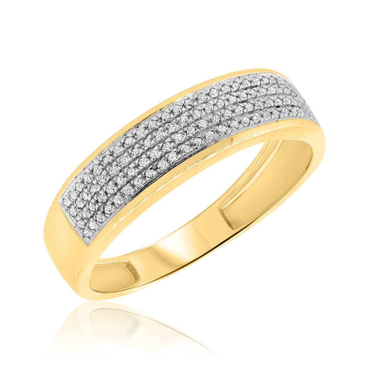 1/4 CT. T.W. Diamond Mens Wedding Band  14K Yellow Gold