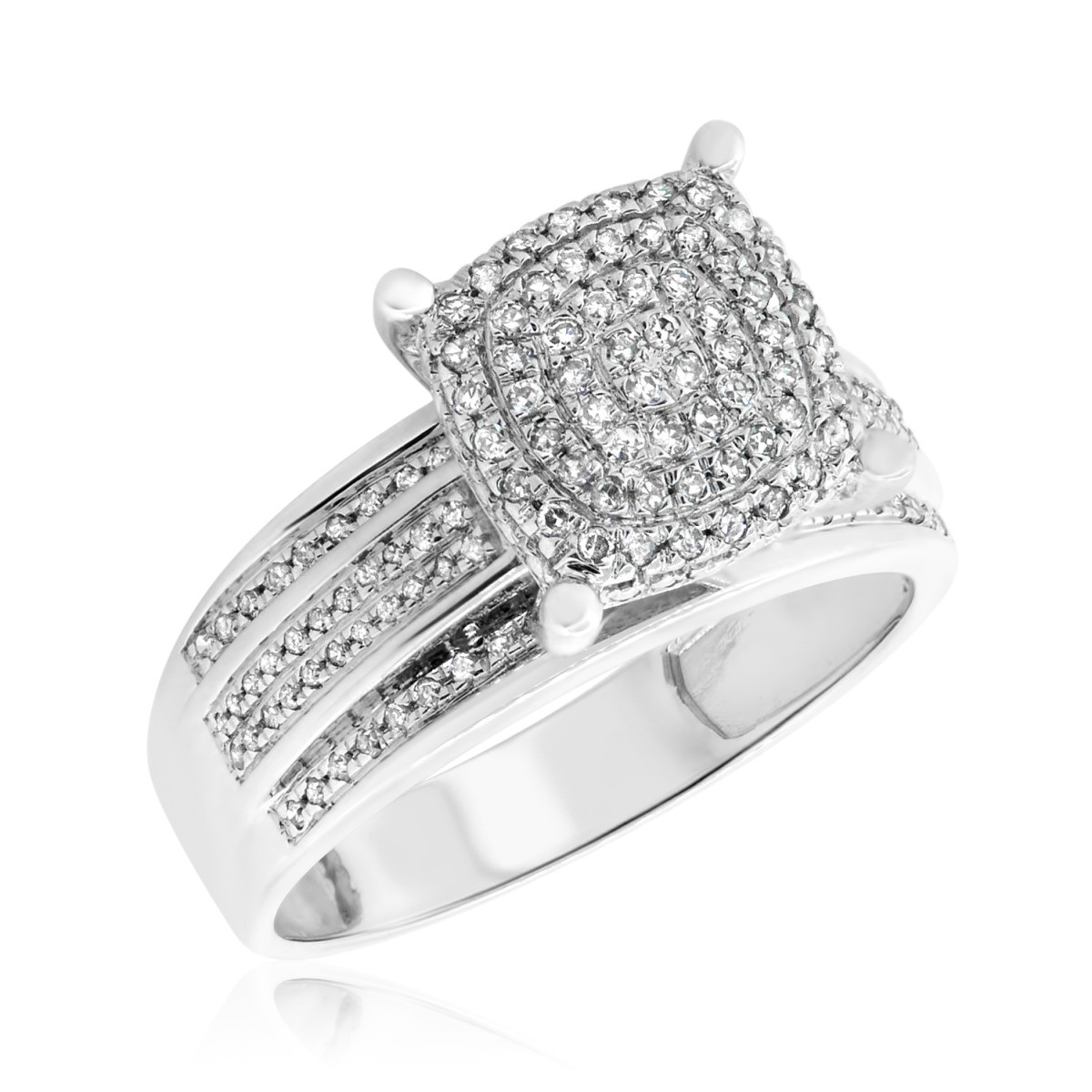 1/3 CT. T.W. Diamond Engagement Ring 10K White Gold