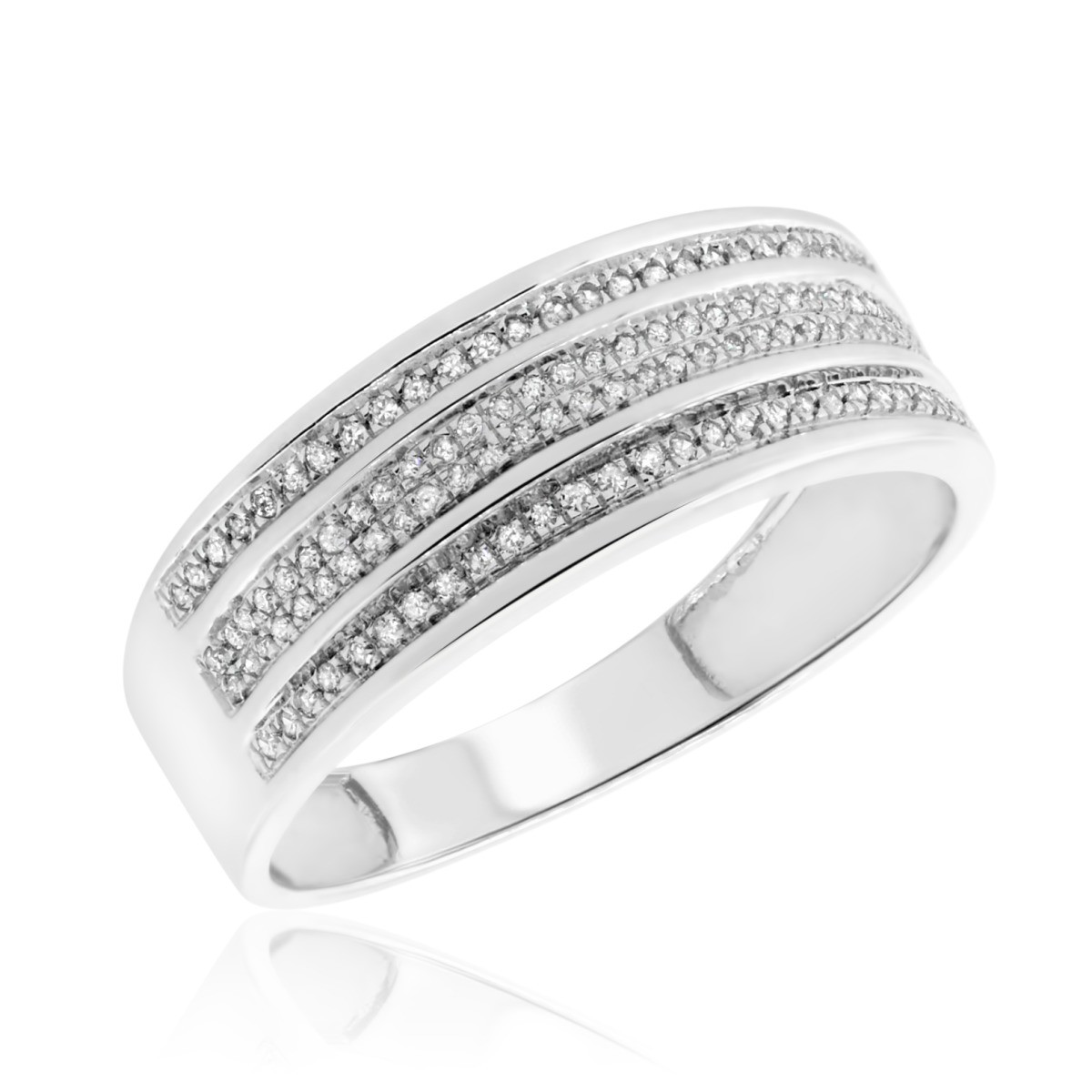 1/5 Carat T.W. Diamond Mens Wedding Band  10K White Gold
