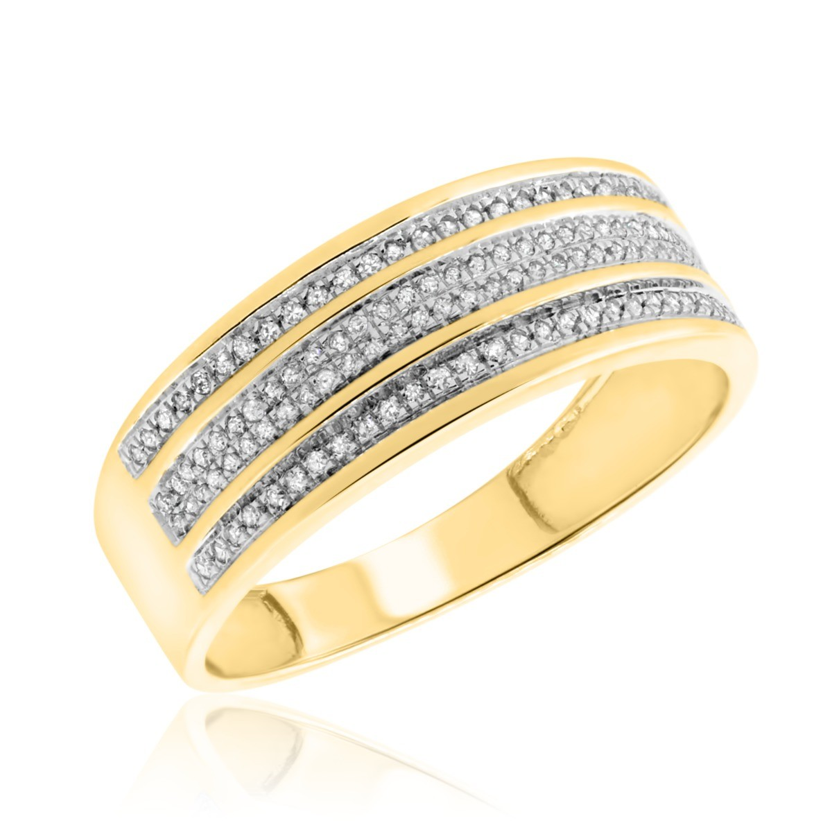 1/5 Carat T.W. Diamond Mens Wedding Band 10K Yellow Gold