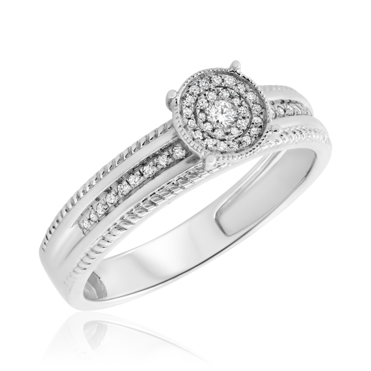 1/7 CT. T.W. Diamond Engagement Ring 10K White Gold