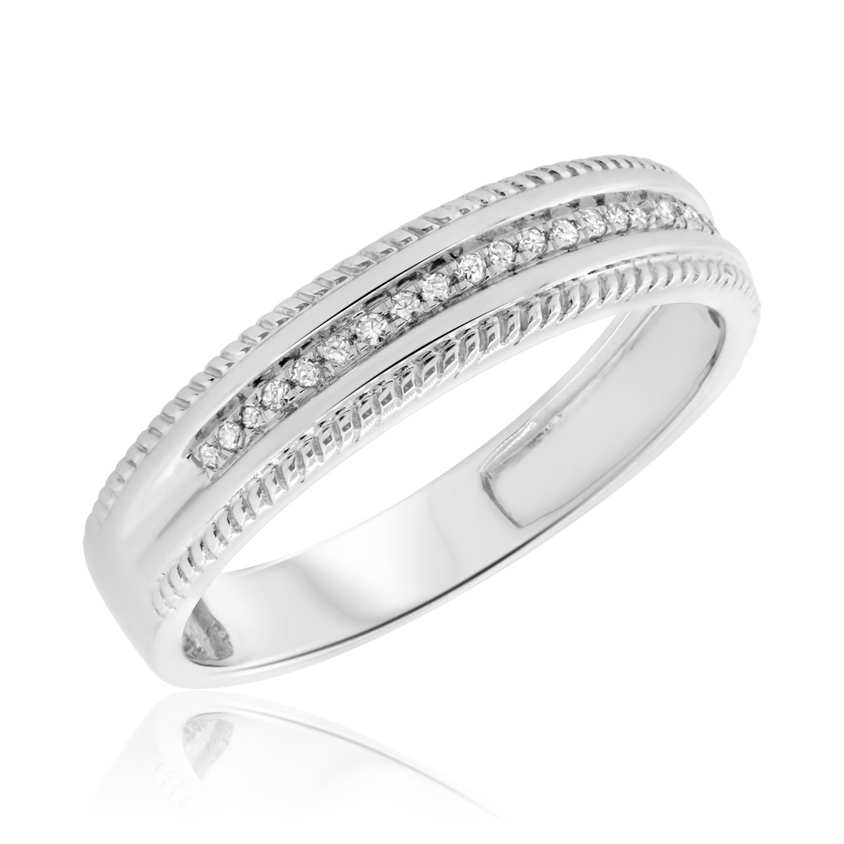 1/15 CT. T.W. Diamond Ladies Wedding Band  10K White Gold