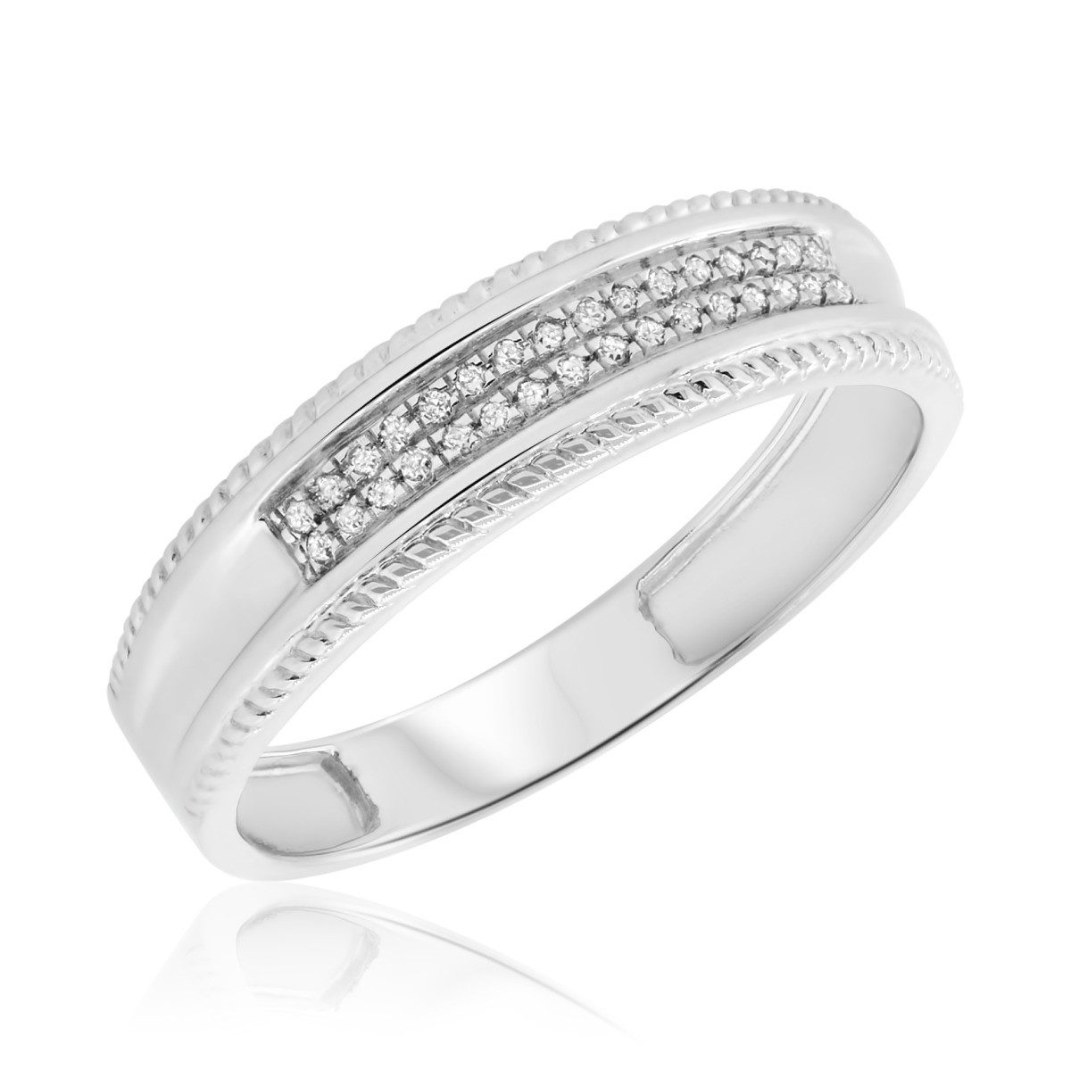 1/10 CT. T.W. Diamond Mens Wedding Band  10K White Gold