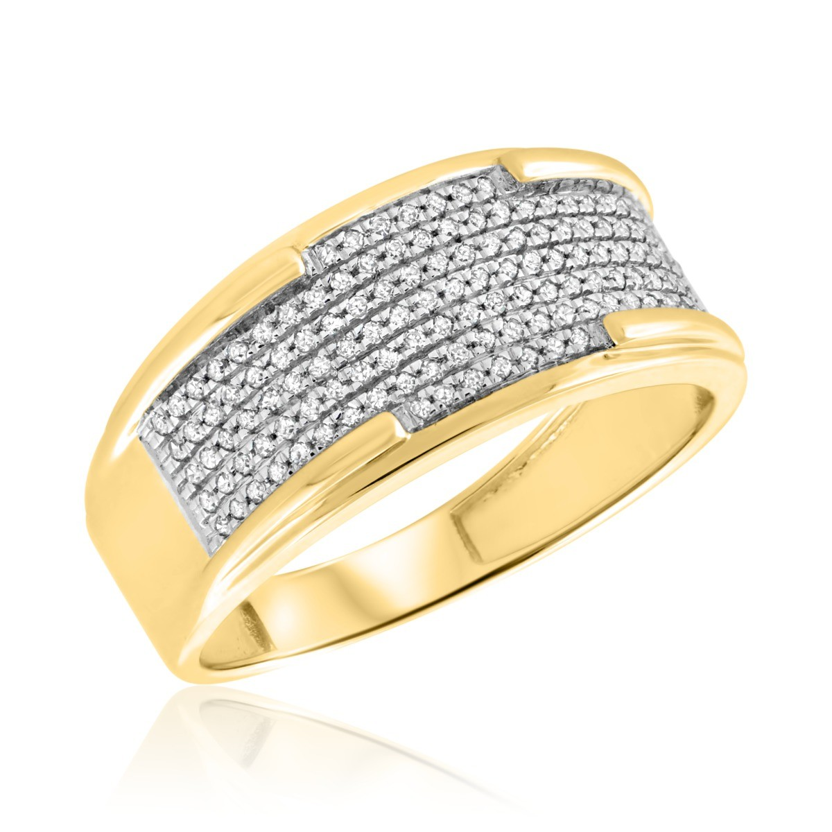 1/3 CT. T.W. Diamond Mens Wedding Band  14K Yellow Gold