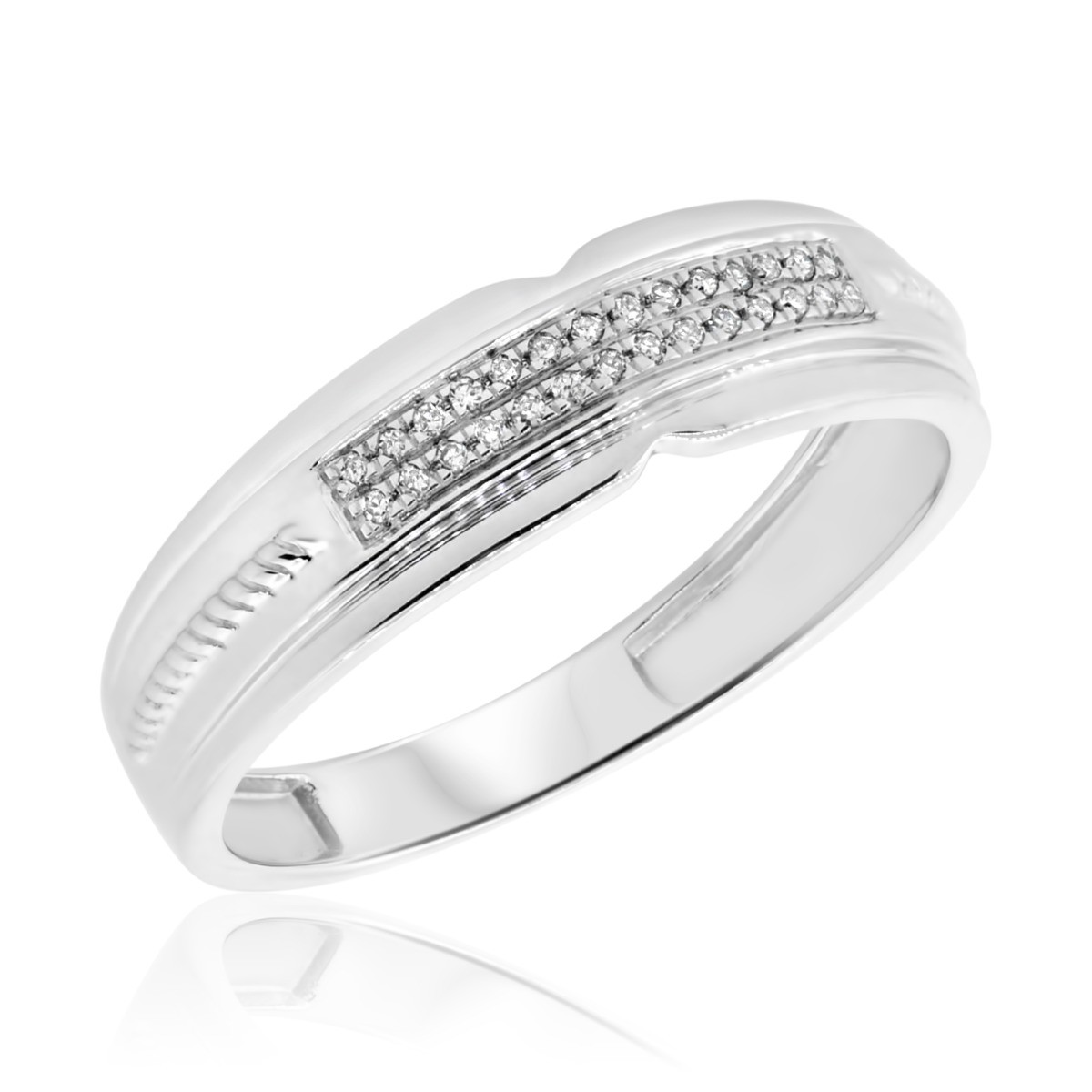 1/10 Carat T.W. Diamond Mens Wedding Band 10K White Gold