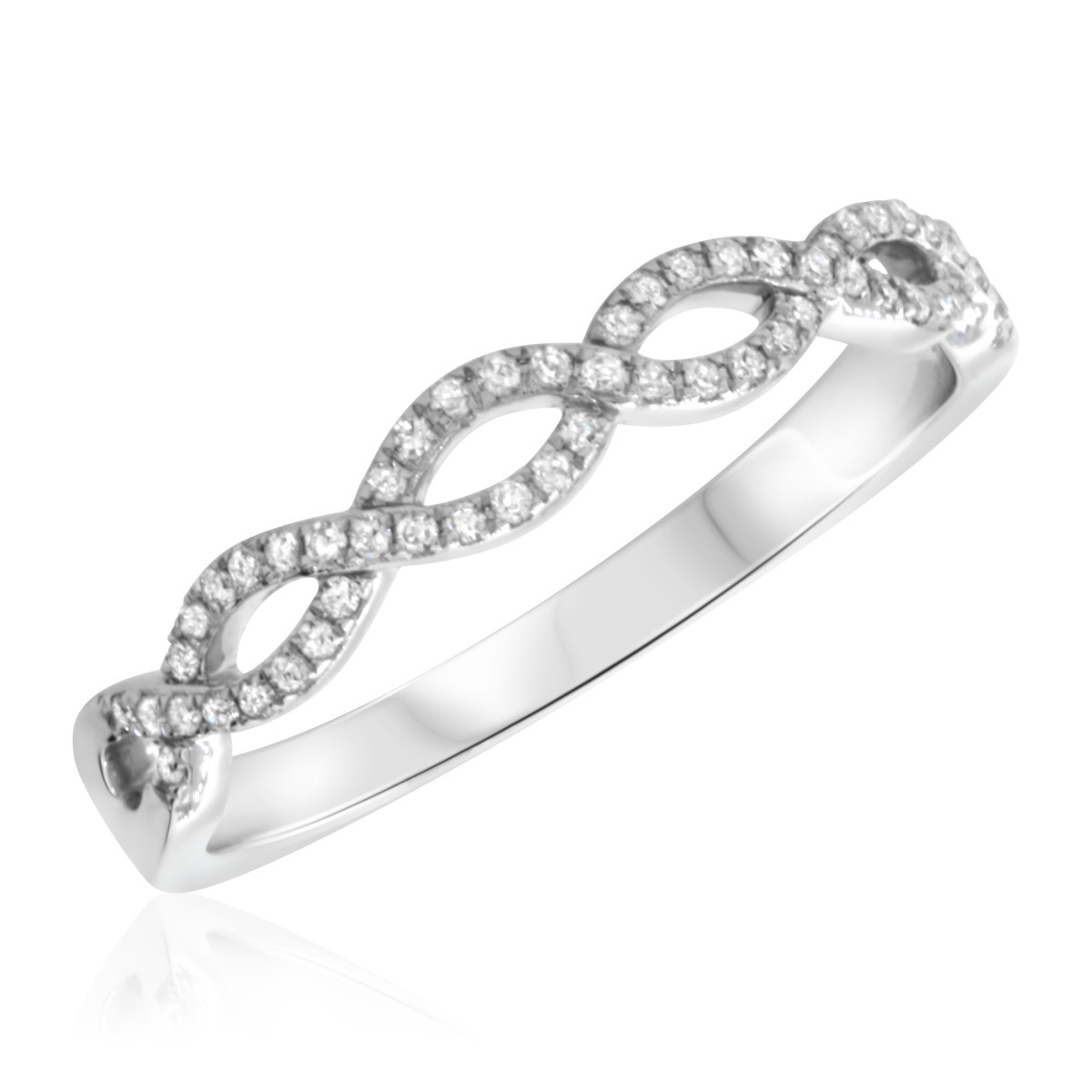 1/5 CT. T.W. Diamond Ladies Wedding Band  14K White Gold
