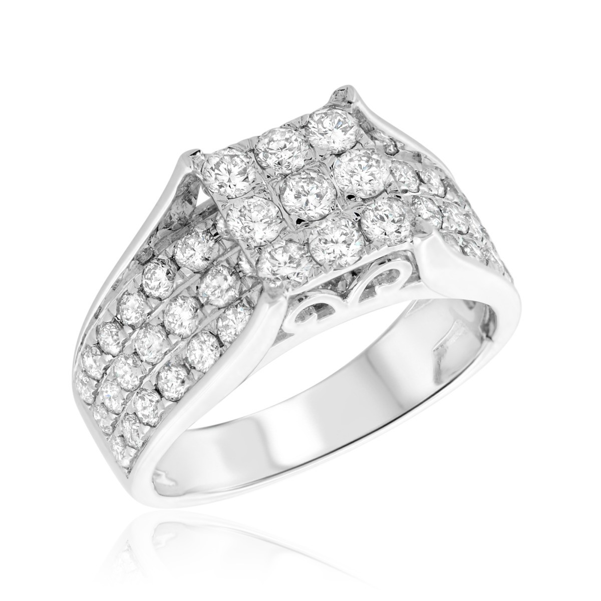 2 1/5 CT. T.W. Diamond Engagement Ring 10K White Gold
