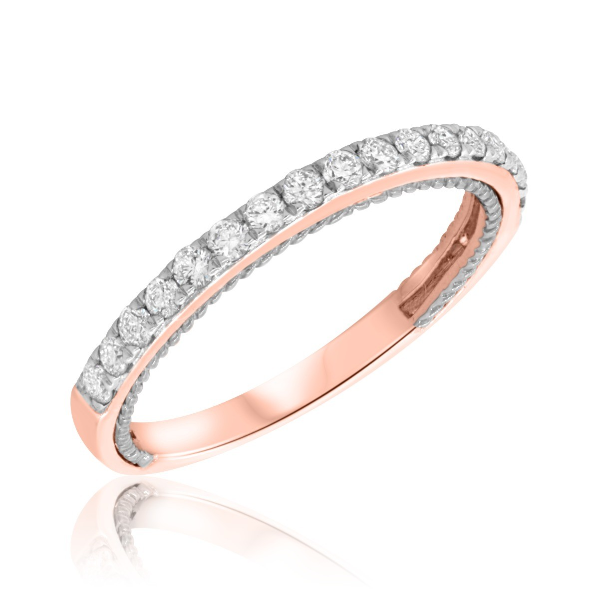1/3 CT. T.W. Diamond Ladies Wedding Band  10K Rose Gold