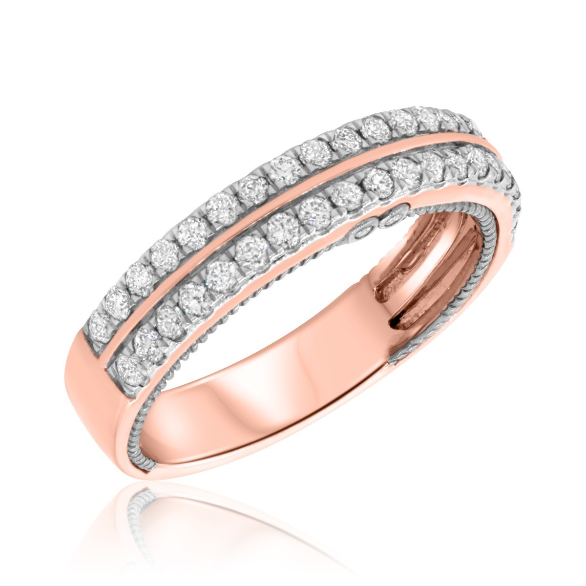 3/4  Carat T.W. Diamond Mens Wedding Band  14K Rose Gold