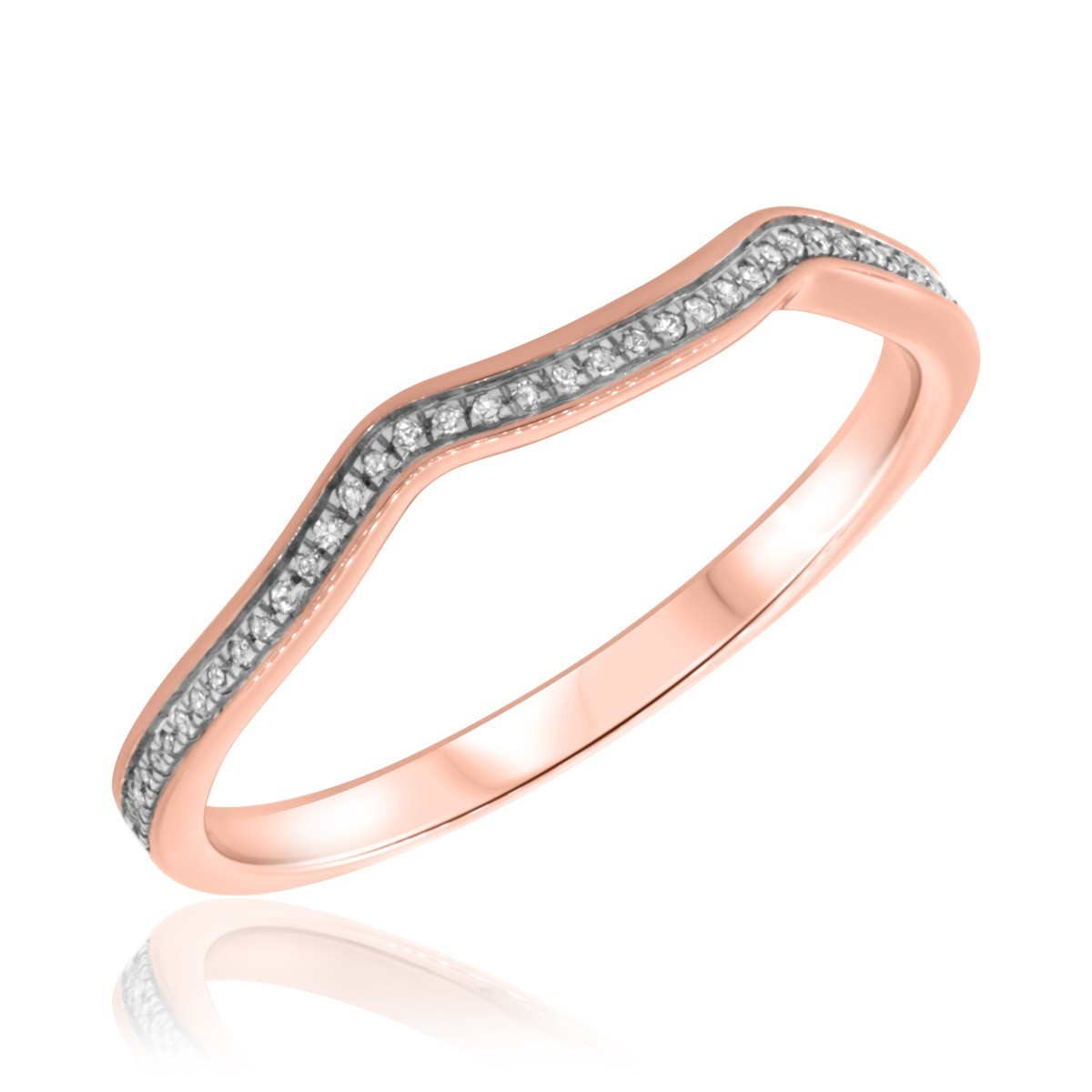 1/10 CT. T.W. Diamond Ladies Wedding Band  10K Rose Gold