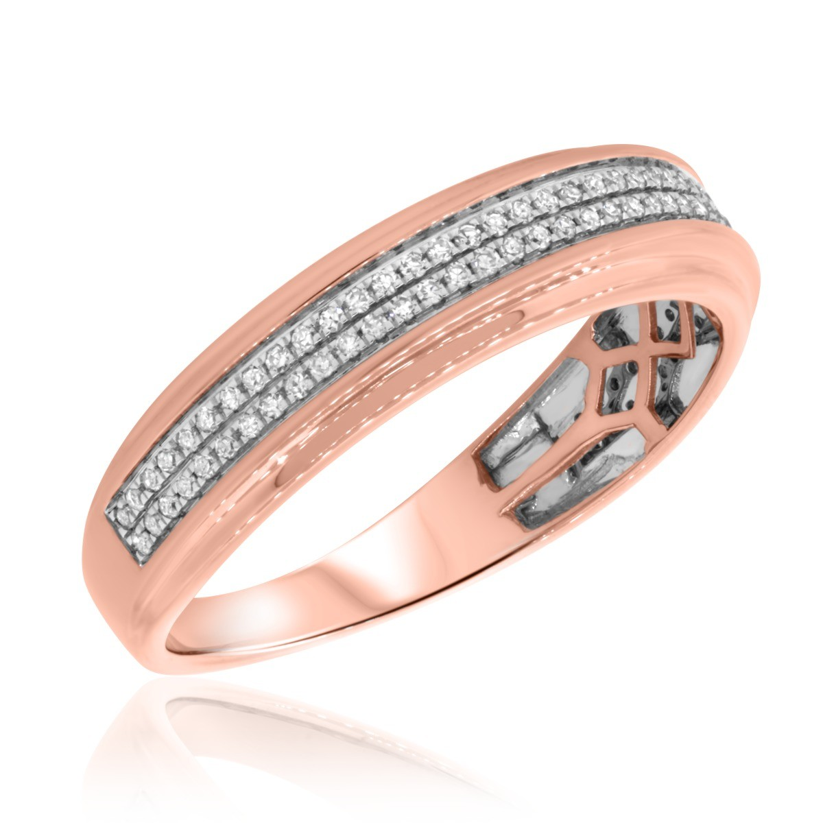 1/3 Carat T.W. Diamond Mens Wedding Band  10K Rose Gold
