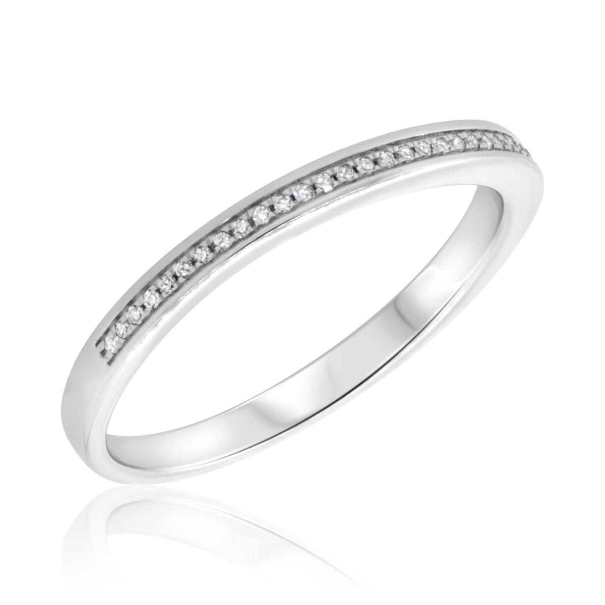 1/8 CT. T.W. Diamond Ladies Wedding Band  10K White Gold