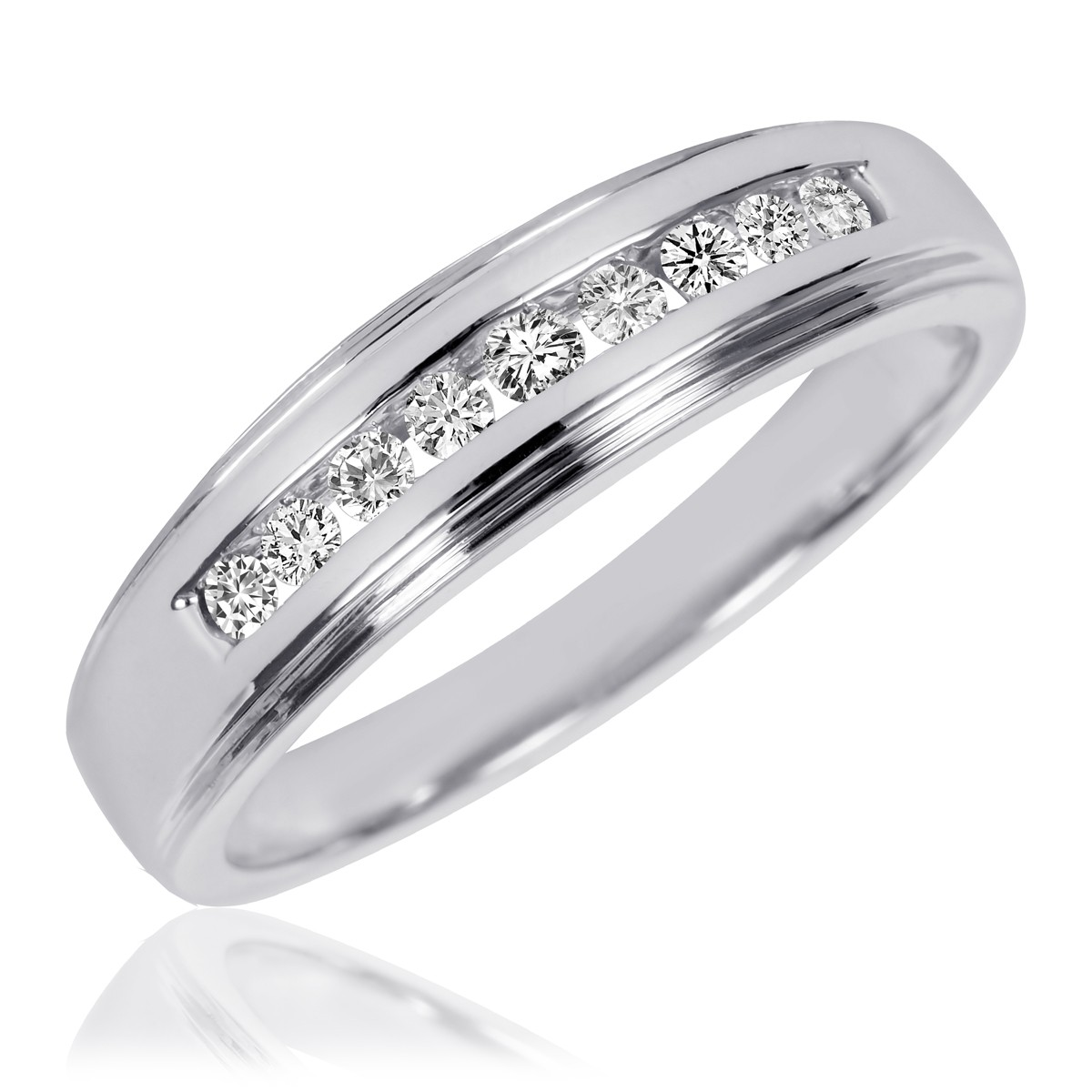1/5 CT. T.W. Diamond Men's Wedding Ring 10K White Gold