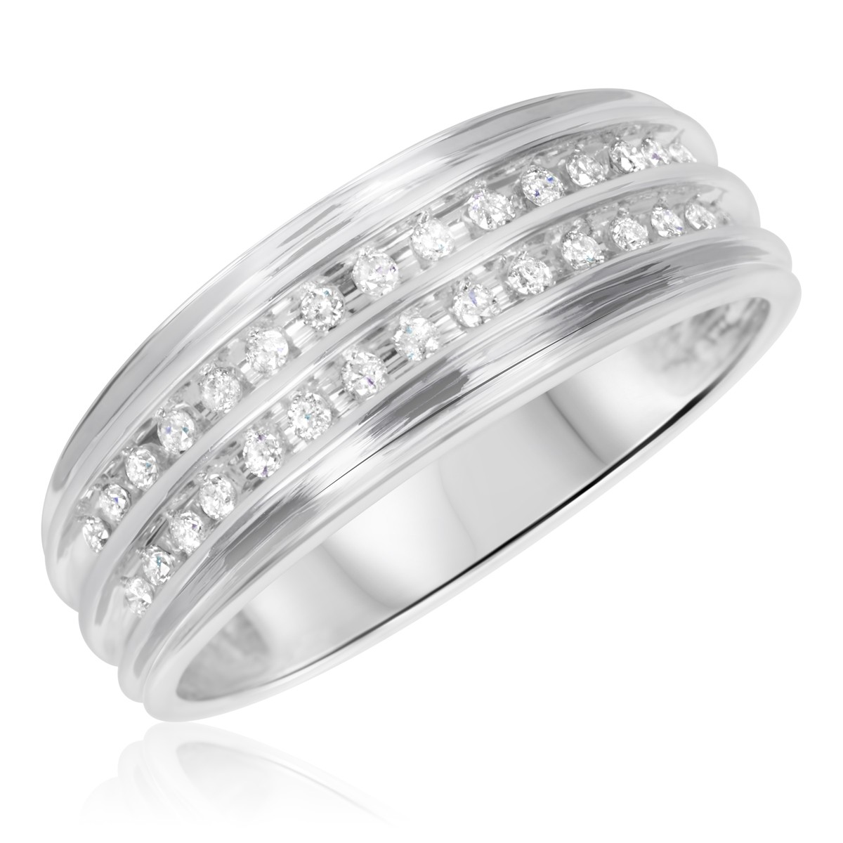 1/3 CT. T.W. Diamond Men's Wedding Band 10K White Gold