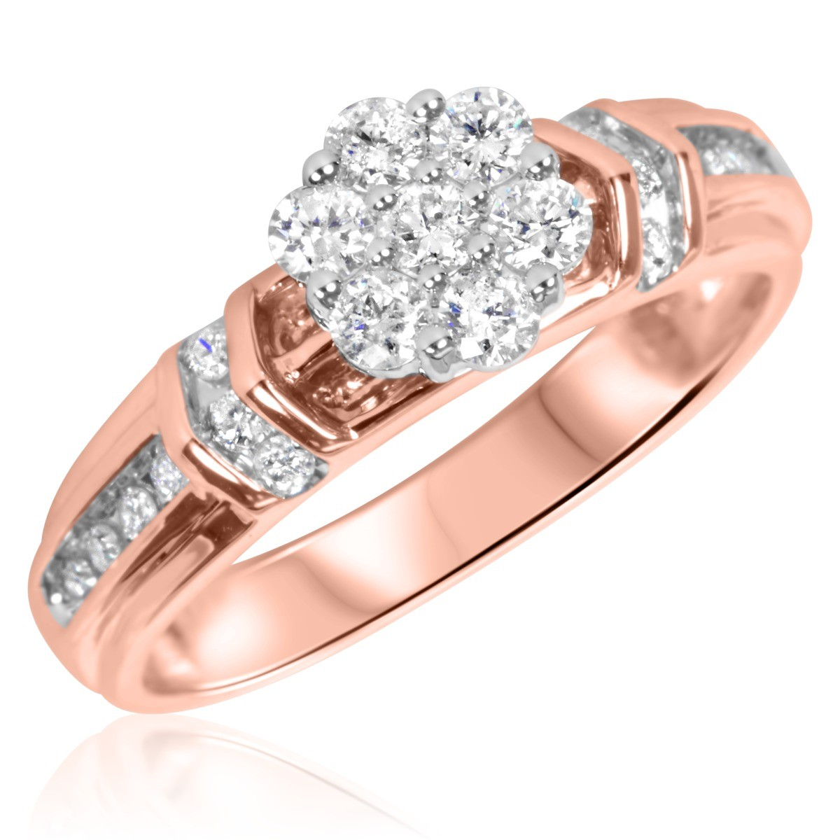 1/2 CT. T.W. Diamond Ladies' Engagement Ring 10K Rose Gold