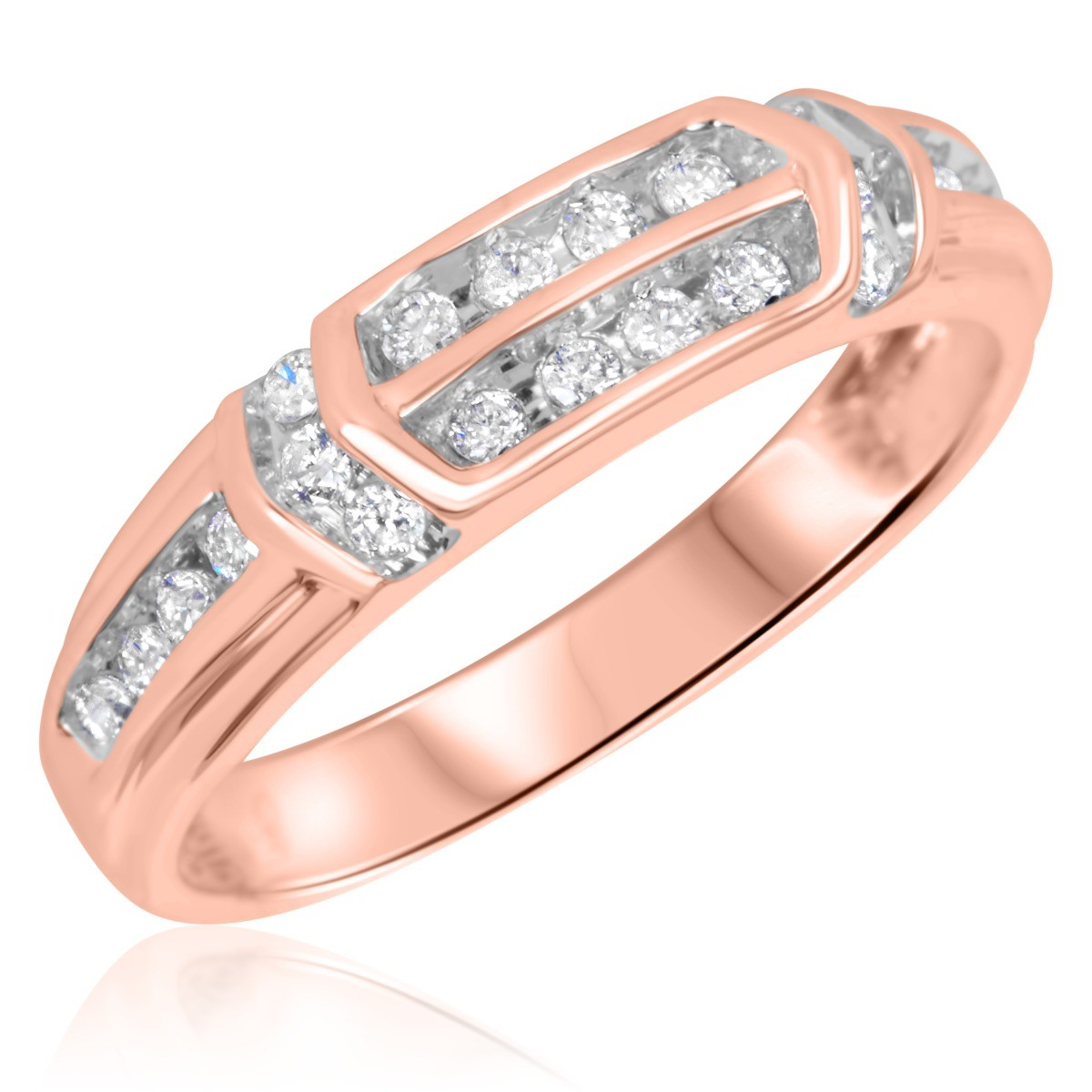 1/4 CT. T.W. Diamond Ladies' Wedding Ring 10K Rose Gold