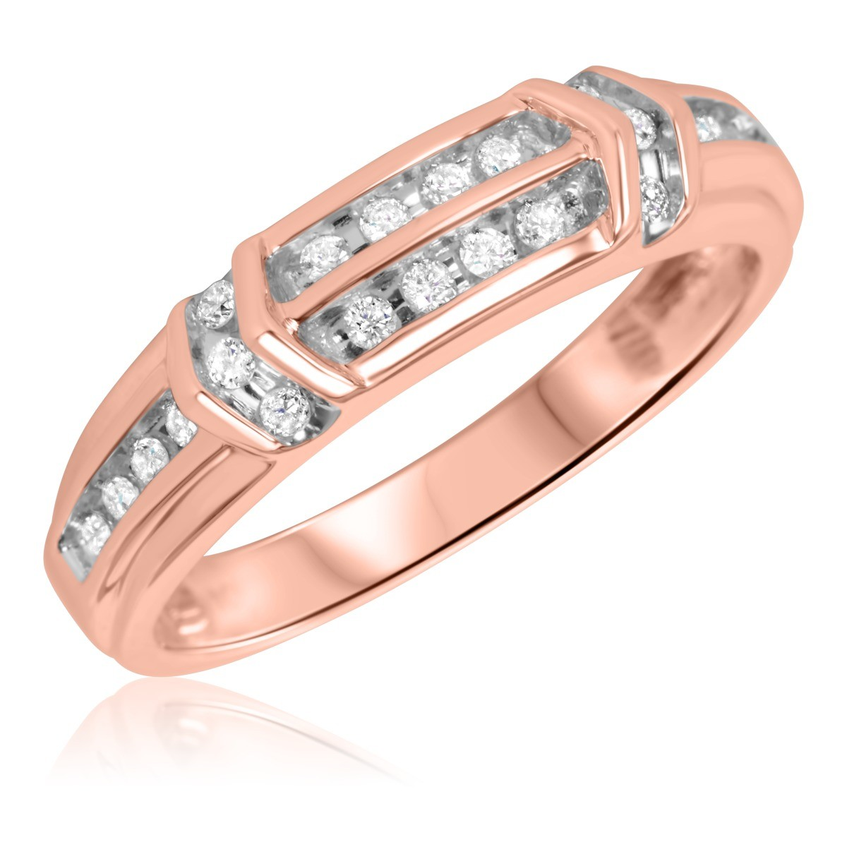 1/3 Carat T.W. Diamond Men's Wedding Ring 10K Rose Gold