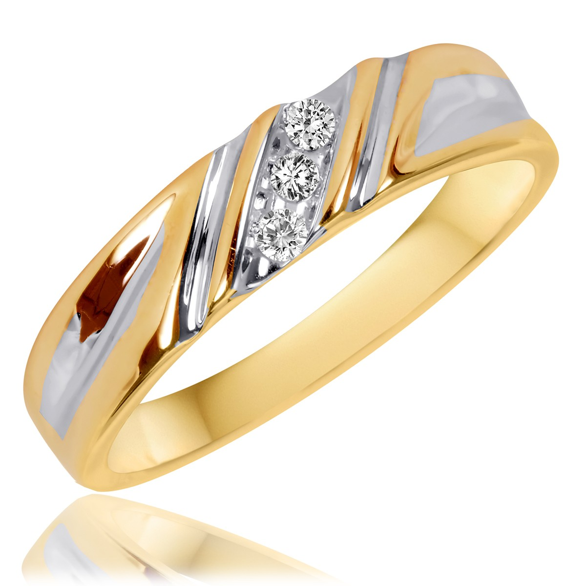 1/20 Carat T.W. Diamond Men's Wedding Band 14K Yellow Gold
