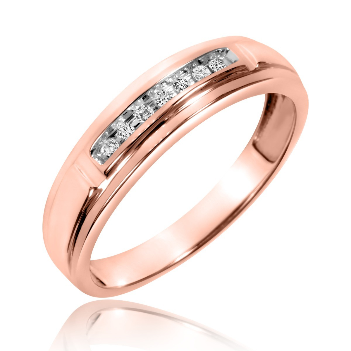 1/15 Carat T.W. Diamond Men's Wedding Band 10K Rose Gold