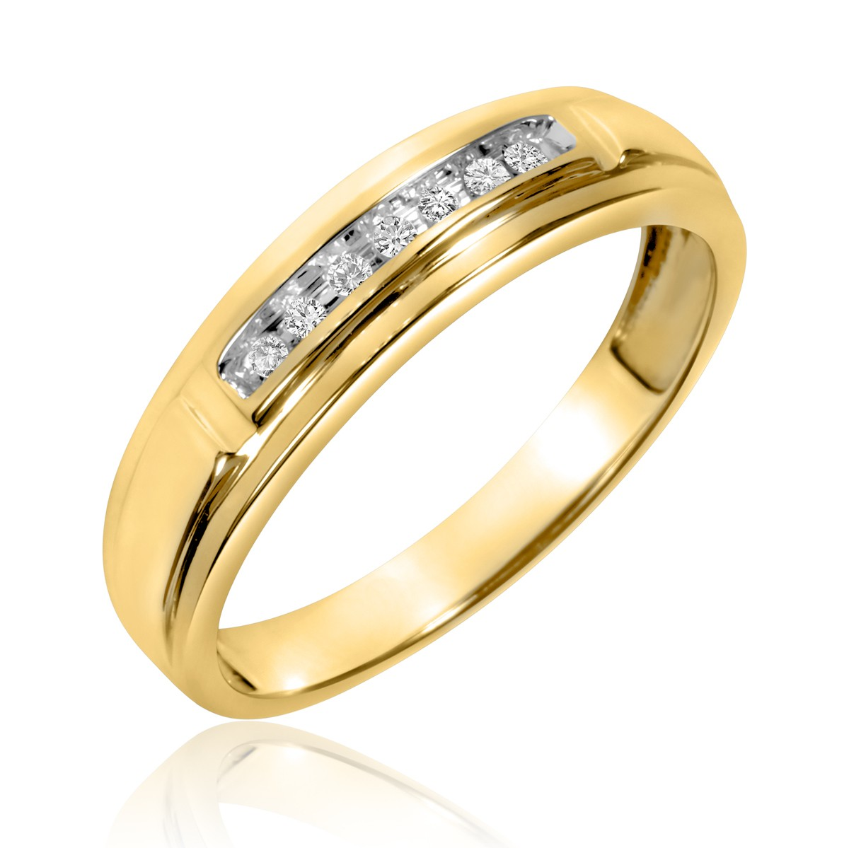 1/15 Carat T.W. Diamond Men's Wedding Band 14K Yellow Gold