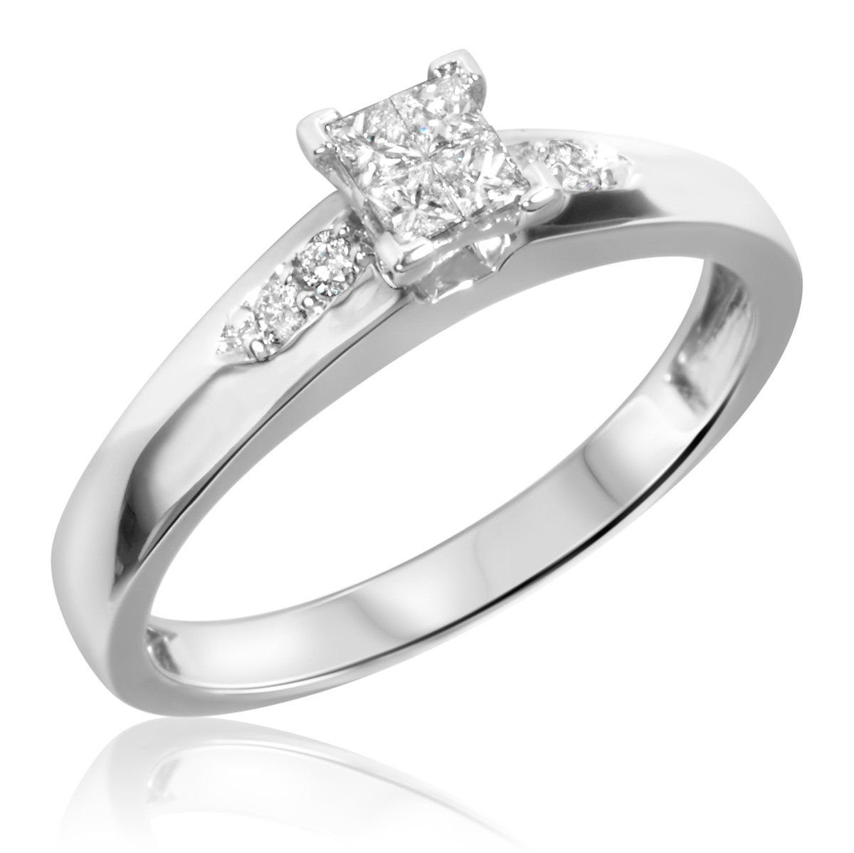 1/5 Carat T.W. Diamond Ladies' Engagement Ring 10K White Gold