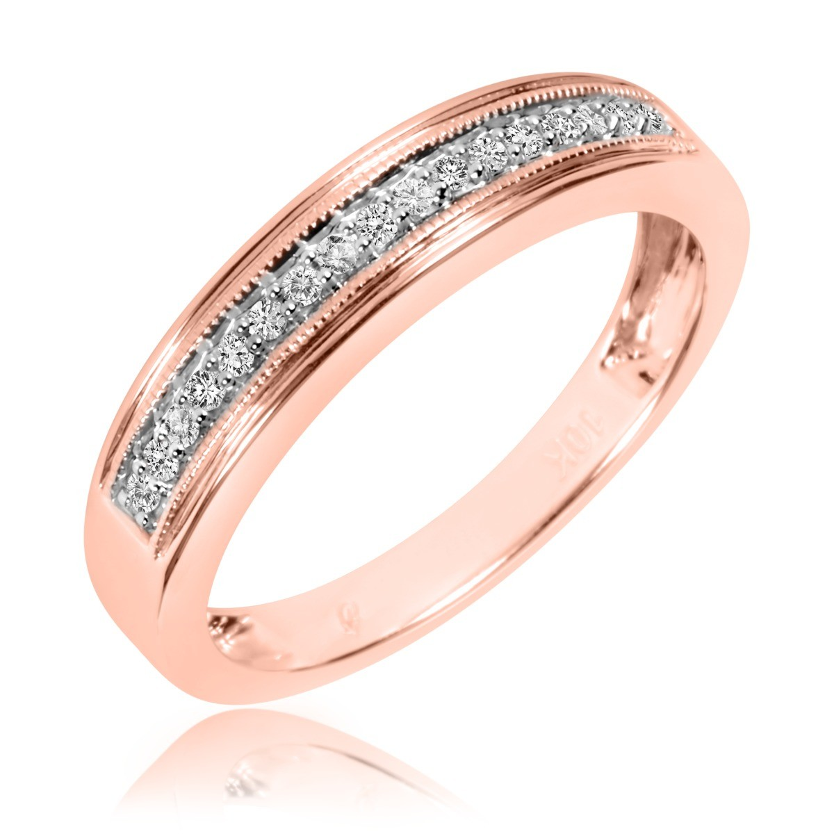 1/6 Carat T.W. Diamond Men's Wedding Band 14K Rose Gold