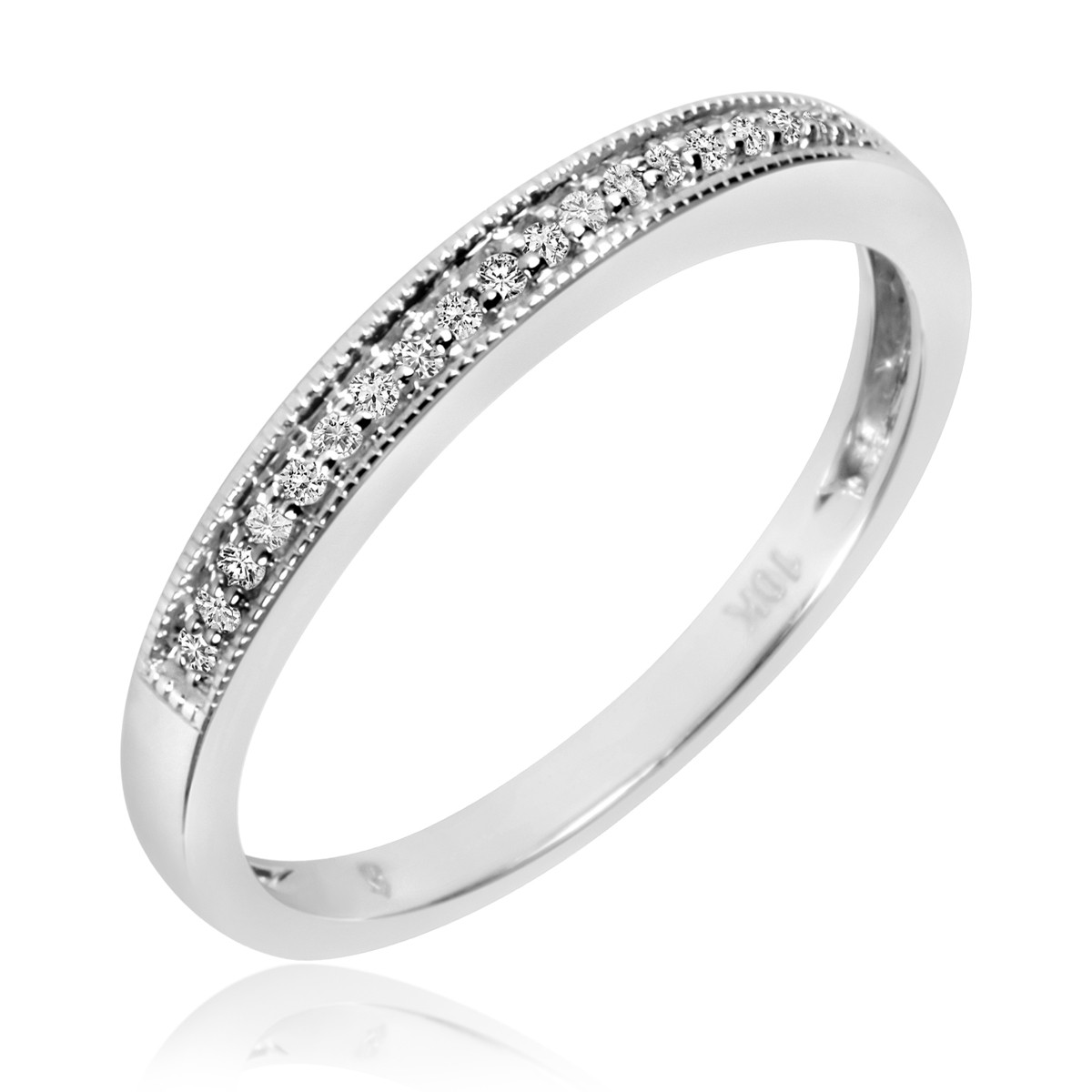 1/10 CT. T.W. Diamond Ladies' Wedding Band 14K White Gold
