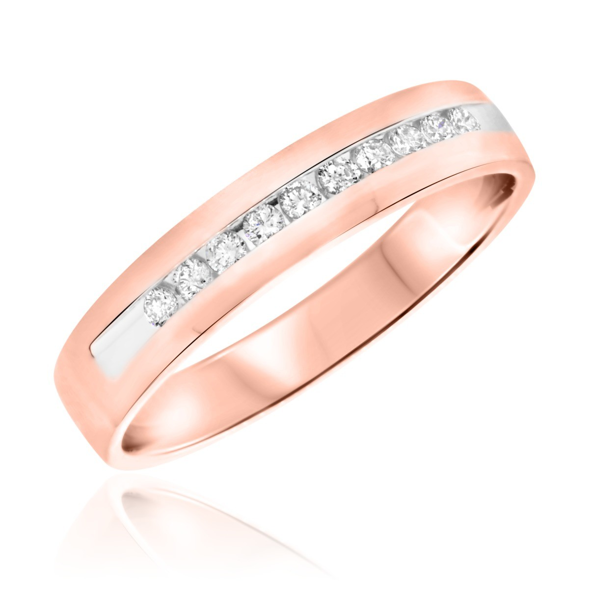 1/4 CT. T.W. Diamond Men's Wedding Band 14K Rose Gold