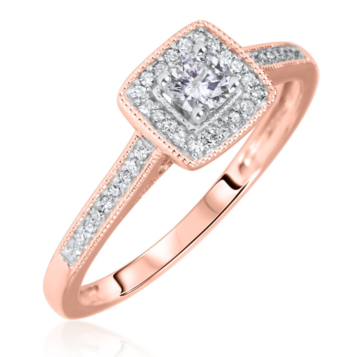 1/5 Carat T.W. Round Cut Diamond Ladies Engagement Ring 14K Rose Gold